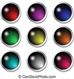 Set of glossy buttons for icons