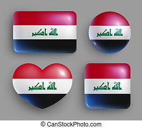 Set of glossy buttons with Iraq country flag
