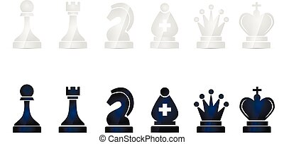 Set of glossy chess icons isolated on white - Set of glossy...