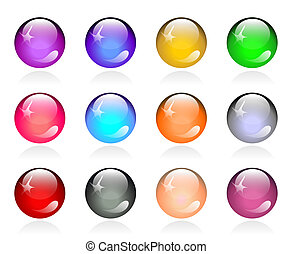 Set of glossy color round buttons