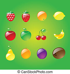 Set of glossy fruits
