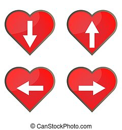Set of glossy heart button icons for your design