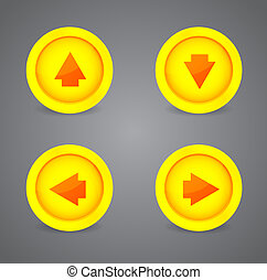Set of glossy icons with arrows