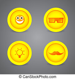 Set of glossy internet icons