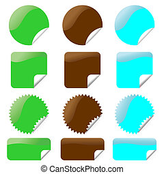 Set of glossy labels in various shapes