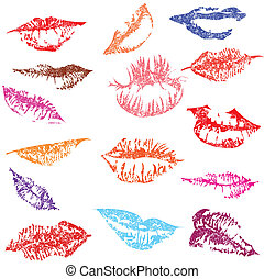 Set of glossy lips in tender kiss. - Lip print track set in...