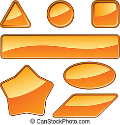 Set of glossy orange labels isolated on white.