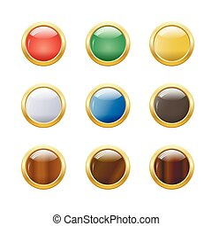 Set of glossy round buttons