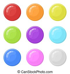 Set of glossy round colorful buttons isolated on white background. Vector illustration for any design.