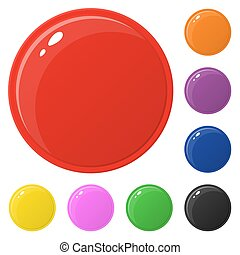 Set of glossy round colorful buttons isolated on white. Vector illustration for design, game, web.