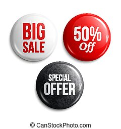 Set of glossy sale buttons or badges. Product promotions. Vector.