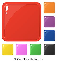 Set of glossy square colorful buttons isolated on white. Vector illustration for design, game, web.