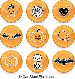 Set of glossy vector Halloween icons for your design