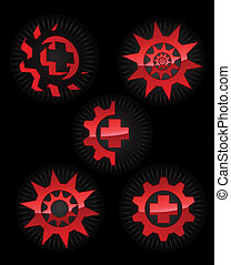 Set of glossy vector logo elements
