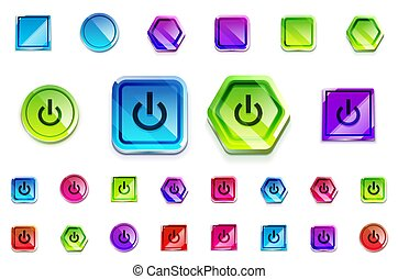 Set of glossy web buttons, various 3d icons - circle, square, hexagon forms. Power buttons and empty blank buttons. Vector icon collection