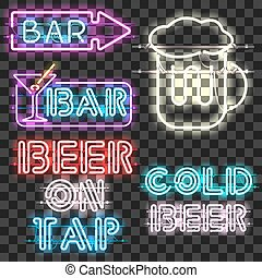 Set of glowing bar neon signs isolated on transparent...