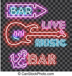 Set of glowing bar neon signs