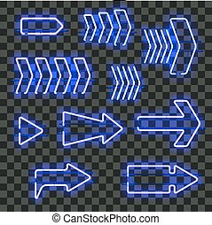 Set of glowing blue neon arrows
