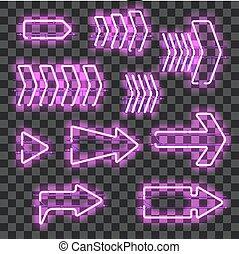 Set of glowing blue purple arrows