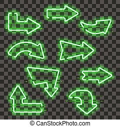 Set of glowing green neon arrows