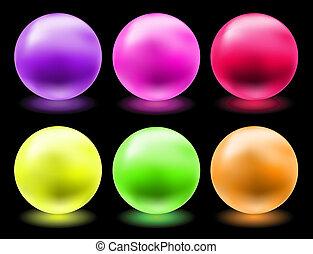 set of glowing magic glass balls