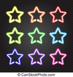 Set of glowing neon lights colorful stars