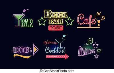 Set of glowing neon signs for beer and cocktail bar, cafe, dance club and hotel. Vector elements for advertising flyer or poster
