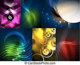 Set of glowing neon waves