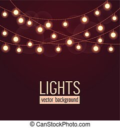 Set of glowing string lights on dark red background. Vector illustration