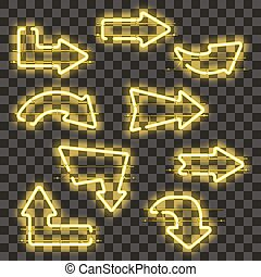 Set of glowing yellow neon arrows
