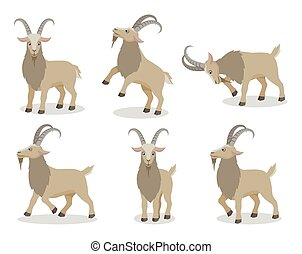 Set of goat in different poses in flat style