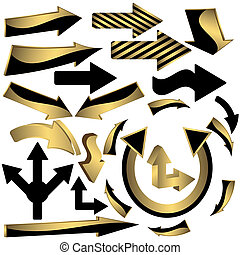 Set of gold and black arrow icons