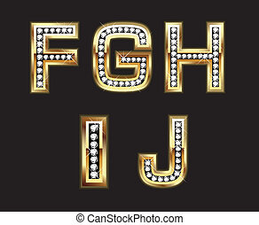 Set of gold and diamond letters - Bling style