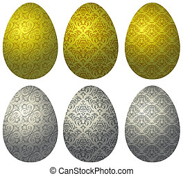 Set of gold and silver Easter eggs