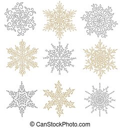 Set of gold and silver snowflakes. Holiday collection. Snowflakes collection isolated on white background. Vector illustration.