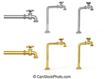Set of gold and silver taps in different position. 3d illustration