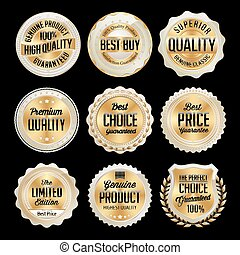Set of Gold and White badges