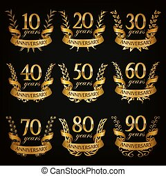 Set of gold anniversary badges with laurel wreaths, numbers....