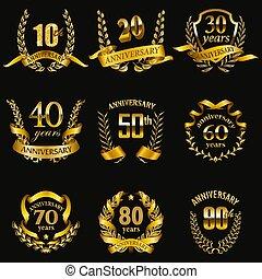 Set of gold anniversary badges