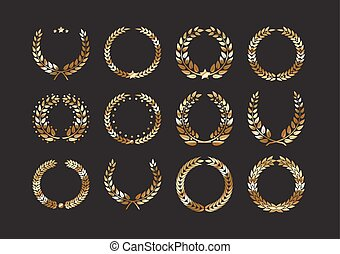 Set of gold award laurel wreaths and branches