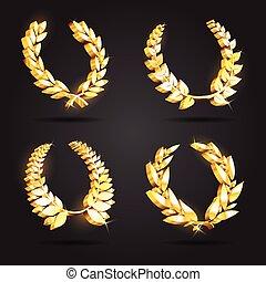 Set of gold award laurel wreaths