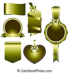 Set of gold badges label and ribbon, vector tag illustration