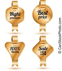 Set of gold banner with ribbon,
