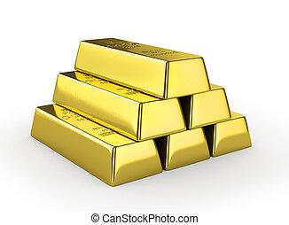 Set of gold bars isolated on white background. 3d illustration