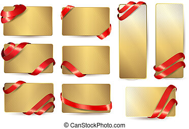 Set of gold business cards with red ribbons. Vector illustration.