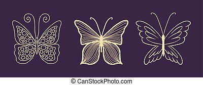 Set of gold butterflies for a luxury logo or tattoo. Chic vector design element for your luxury brand. A symbol of freedom, flight, ease. Insect with wings isolated on white background