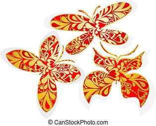 Set of gold butterflies. Vector