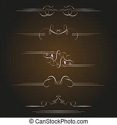 set of gold calligraphic design elements and page decoration. vintage set
