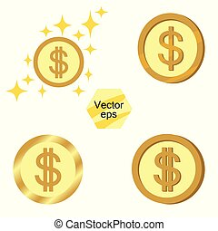 Set of gold coins. Jackpot or success concept. Modern background. Vector elements isolated on a transparent background.