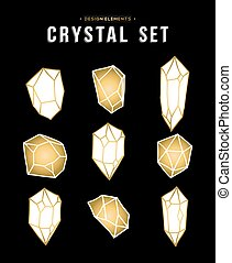 Set of gold color diamond rock elements